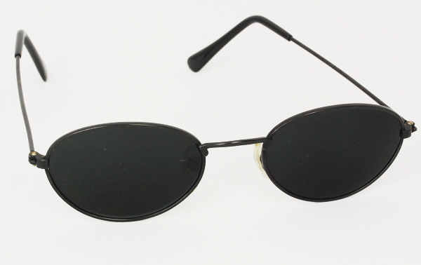 Sort oval metal solbrille
