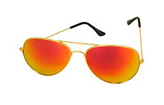 Guldfarvet aviator - orange-gult glas - Design nr. 3232