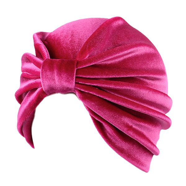 Turban i pink velour - Design nr. 3357