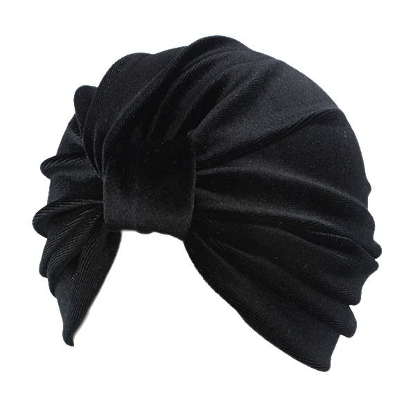 Turban i smuk sort velour - Design nr. 3358