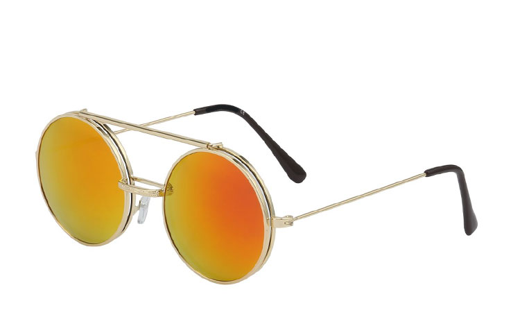 Rund metal brille med flip up solbrille - Design nr. 3454