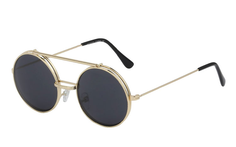 Guldfavet metal brille med flip up solbrille - Design nr. 3461