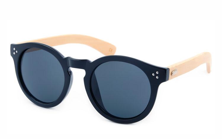 832dbc0f10ac Moderigtig solbrille i rødt metalstel med røde linser. Sort rund solbrille  med bambus stænger - Design nr. s3496 · Sort rund solbrille med bambus  stænger