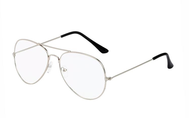 d57ff05085dd Den moderne dråbe   nørde brille i sølvfarvet stel - Design nr. 3517