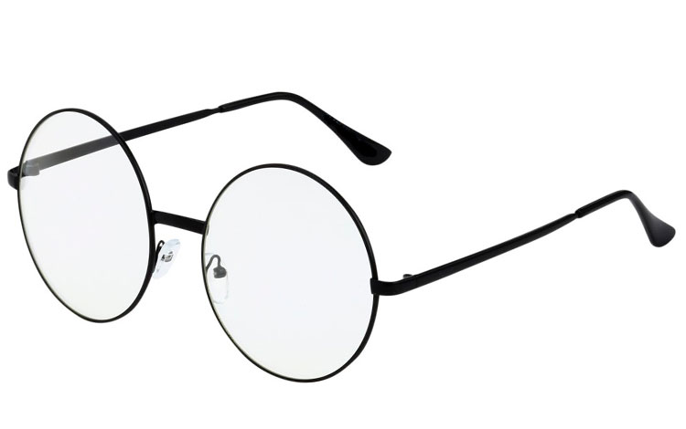 Rund brille i sort metal, STOR MODEL