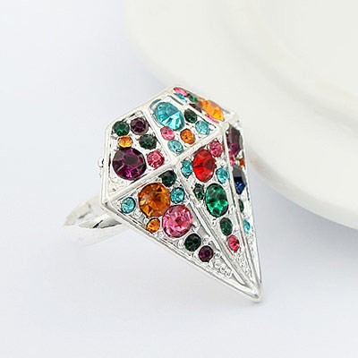 Ring Diamant  m/ farvede sten - Design nr. 25
