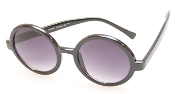 Rund solbrille i sort. Hippie vintage look. - Design nr. 385