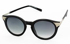 331c9d6d0e72 Rund sort solbrille med sølv hjørner - Design nr. 1048