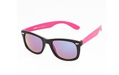 5fd33f47b582 Wayfarer solbrille - Sort   pink med multispejl glas. - Design nr. 273