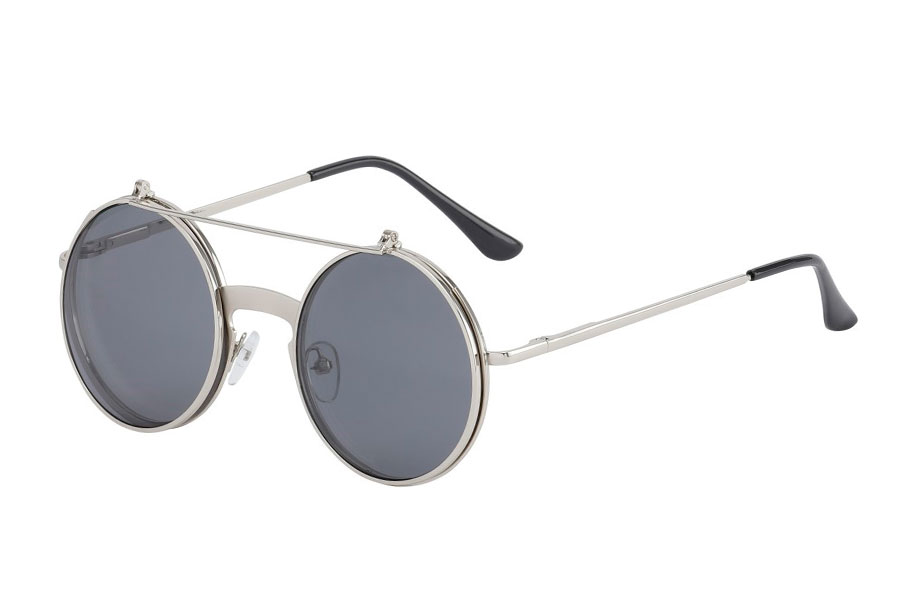 b980fc94f1d8 Sølvfarvet brille med flip-up solbrille - Design nr. s3716