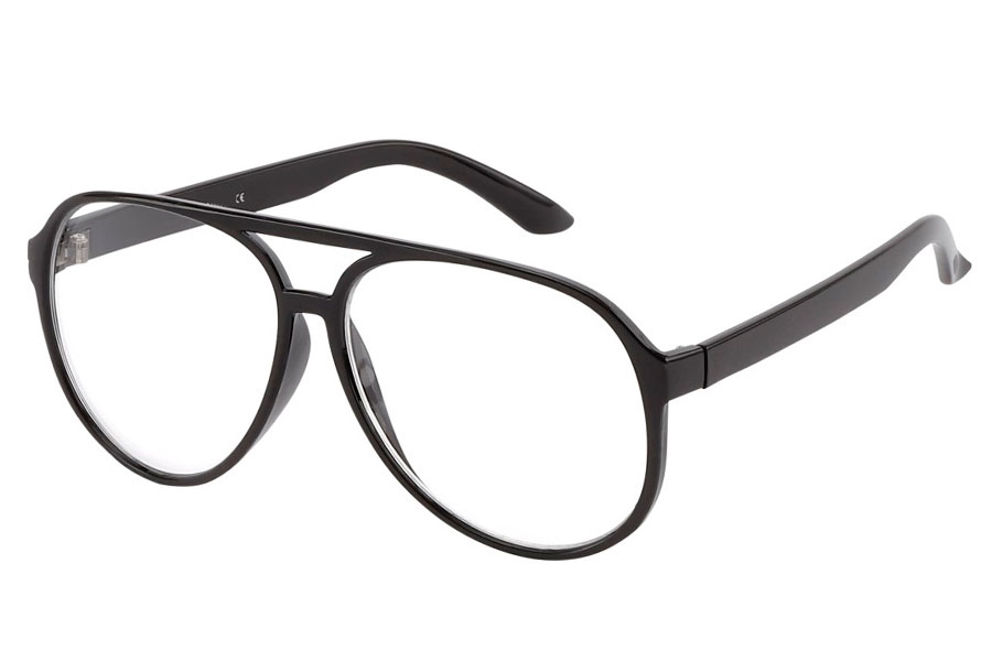 Sort klassisk brille med klart glas - Design nr. 3786