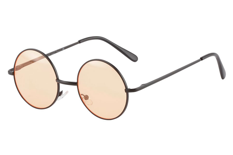 Rund lennon brille i sort metalstel med orange linser.  - Design nr. 3848