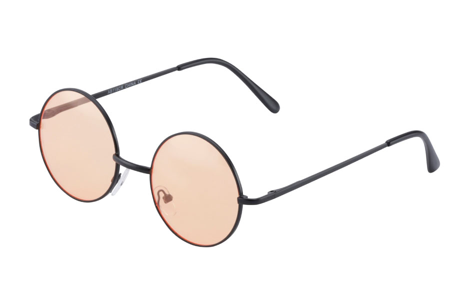 Rund metal solbrille med lys orange glas - Design nr. s3880